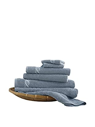 Luxury Home 6-Piece Egyptian Cotton Embroidered Chain Towel Set, Blue