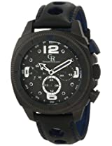 Giulio Romano Men's GR-2000-13-003 Pescara Black IP Case with Blue Aluminum Pusher Black Leather with Blue Lining and Topstitching Dual-Time Day-Date Watch