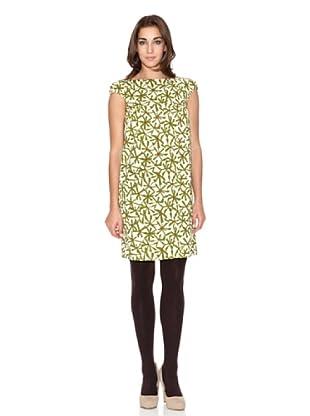 Siyu Vestido Flores Geométricas Manga Corta (Verde / Crudo)