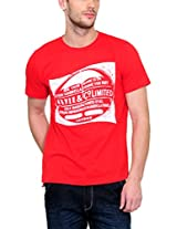Yepme Men's Red Graphic Cotton T-shirt -YPMTEES0306_M