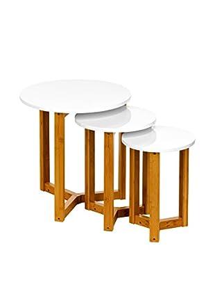 Premier Houseware  Couchtisch 3er Set 2402907 weiß/natur