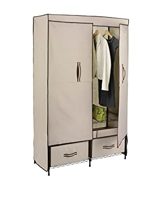 Honey-Can-Do Ultra-Deluxe Wide Storage Closet with Heavy Duty Doors, Cream