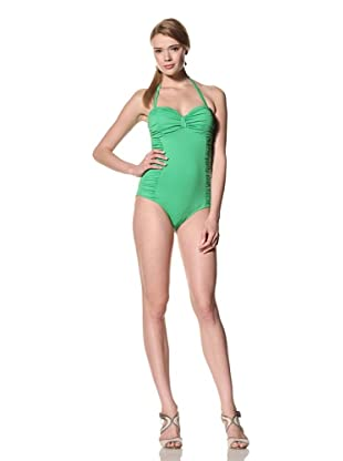 diNeila Women's Strapless Bandeau Swimsuit With Ruching (Iguana)