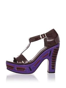 MARNI Women's Woven T-Strap Sandal (Coffee)