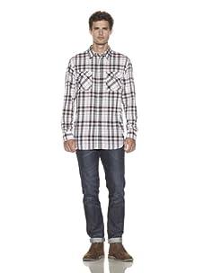 Just A Cheap Shirt Men's Plaid Long Sleeve Shirt (Black/Red)