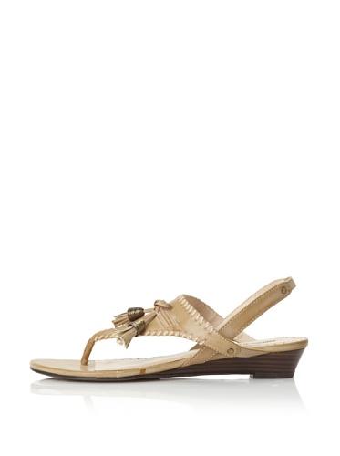 Adrienne Vittadini Women's Valli Wedge Sandal (Light Beige)