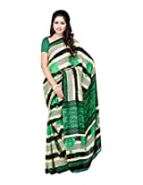 Ambaji Beige & Green Coloured Renial Printed Saree