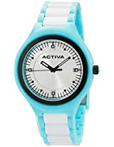 Activa By Invicta Unisex AA200-011 Light Blue Silver Dial Light Blue and White Plastic Watch