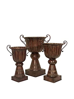 Set Of 3 Large Urn Planters, Copper