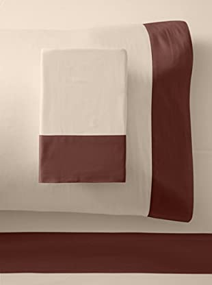 Westport Linens 300 TC Framed Border Sheet Set (Taupe/Chocolate)