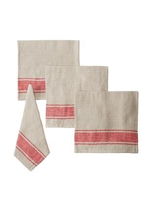 Found Object Calais Set of 4 Linen/Cotton Napkins, Khaki/Red