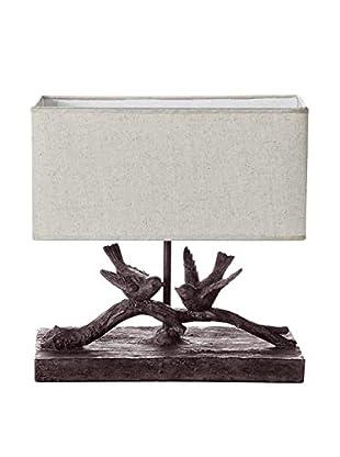 Bird Table Lamp, White/Brown