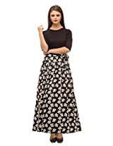 Cottinfab Women's Maxi Dress, Black and White, L