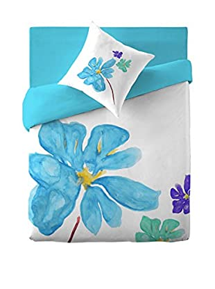 COSTURA Bettdecke und Kissenbezug Blue Blossom