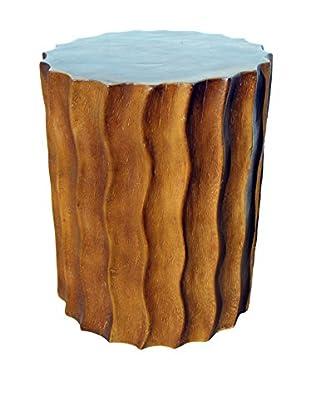 Asian Art Imports Chiseled Acacia Stool, Brown Wax