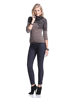 Kier & J Women's Lace Cowlneck Sweater (Marron/Black)
