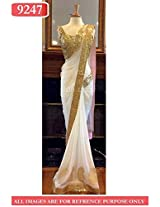 BFZ Bollywood Replica White Color Net Fabric Party Wedding Wear Saree