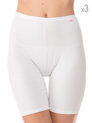 Anyma by Cotonella Pack 3 Pantalones Cortos Interiores Bielástico Extra Fino (Blanco)