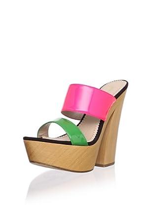 Jean-Michel Cazabat Women's Winona Colorblock Wood Sandal (Grass/Coral)