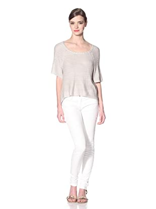 Zero Degrees Celsius Women's Metallic High-Low Sweater (Silver)