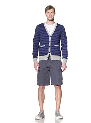 No Excess Men's Solid Placket Striped Cardigan (CobaLight)