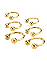 Imported Fashion Stainless Steel Ball Horseshoe Bar Lip Nose Septum Ear Rings Gold