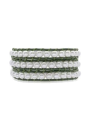 Lucie & Jade Echtleder-Armband Imitationsperlen grün/weiß