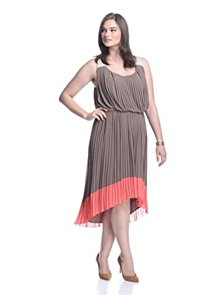 Jessica Simpson Women's Pleated Colorblock Dress (Taupe Grey)