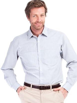 Cortefiel Camisa Cuadros Clásica (Gris / Blanco)