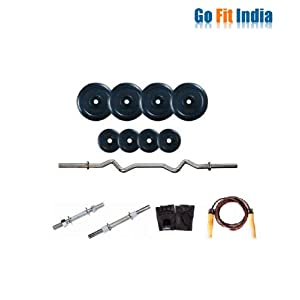 Gofitindia 32 kg Rubber Weight + Dumbbells + 1 Weight Lifting Rods + Accessories