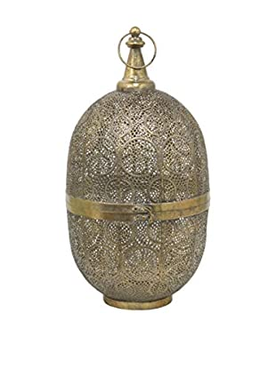 Three Hands Large Oval Metal Lantern, Gold