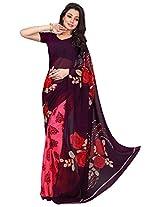 Silk Bazar Women's Faux Georgette Saree with Blouse Piece (Purple & Pink)