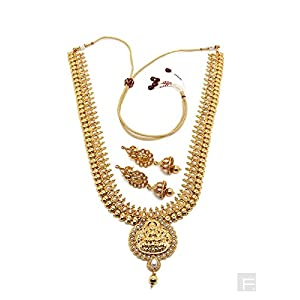 Tribute To Temple Jewellery Necklace Set-Gold-FS