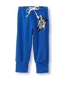 LA Lounge Girl's Zebra Capris (Blue)