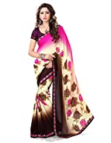 Sourbh Saree Lace Work Pink and Beige Faux Georgette Best Sarees for Women(with color option) Party Wear,Karwa Chauth Gifts, Women Clothing Collection
