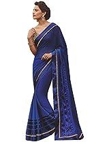 Laxmipati Jodha Women's Marble Saree (Laxmipati Honest Blue 3652_1, Blue )