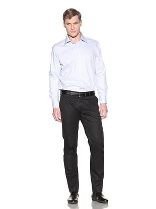 Valentino Men's Dress Shirt (Light Blue/White Diagonal Stripe)