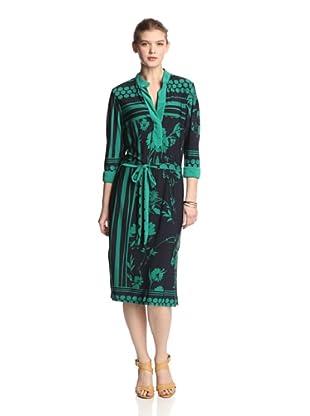 Melissa Masse Women's 3/4 Sleeve Dress with Collar (Navy Green Dot Floral)