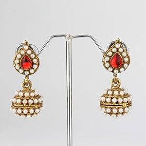 Red Leaf Pearl Jhumki Earrings