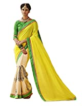 Status Yellow & Off White Color Printed Saree On Bhagalpuri Silk Fabric.