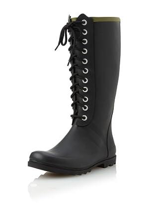Chooka Women's Noir Lace-Up Rain Boot (Black)