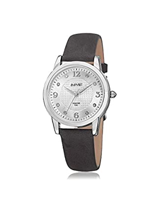 August Steiner Women's AS8198GY Round Embossed Box Pattern Dark Gray/Silver-Tone Leather Watch
