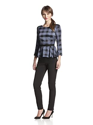 Holmes and Yang Women's Peplum Top (Cerulean Plaid)