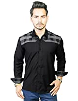 Trendster Black With Grey Checkered Chest & Back Casual Full Sleeve Shirt