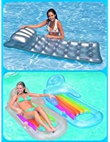 Intex King Kool Lounge & Intex Silver 18 Pocket Suntanner Inflatable Pool Float Lounger, For Adults