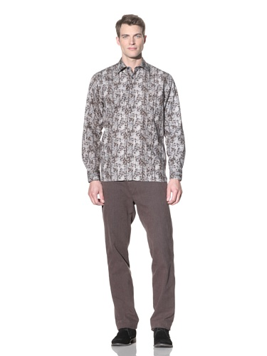 Hickey Freeman Sterling Men's Printed Button-Up Shirt (Charcoal)