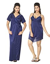 KuuKee Women's Satin Navy colored nightwear (10036_Navy_L)
