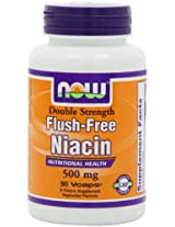 NOW Foods Flush Free Niacin Double Strength, 500mg, 90-Vegetarian Capsules