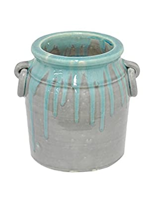 Three Hands Drip Design Ceramic Planter, Blue/Grey