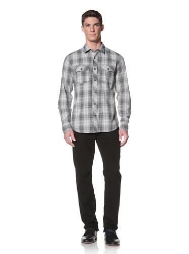 LOVE Moschino Men's Plaid Shirt (Grey/Blue)